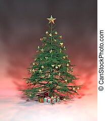 Golden Christmas Tree - a golden Christmas tree with a red...