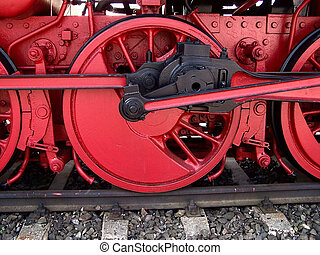 railway wheel - DRIVE WHEEL OF A HEAVY STEAM LOCOMOTIVE
