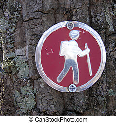 trail marker - A hiking trail marker