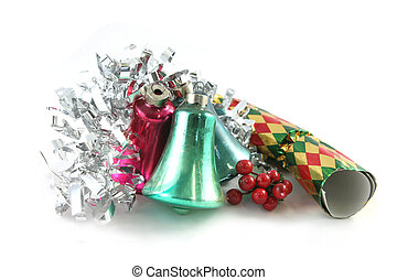 Christmas decorations isolated - Christmas tinsel, bells,...