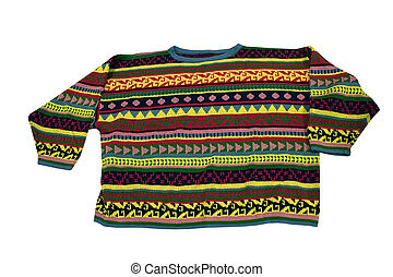 Tacky Sweater - a brightly colored sweater on a white...