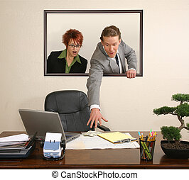 Office Portrait - Business team in portrait on wall stealing...