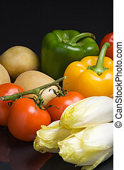 Fresh vegetables - Various fresh vegetables on a dark...