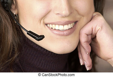 woman with headset - woman with a telephone headset