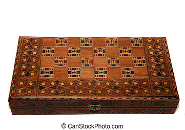 Backgammon - Wooden backgammon board game on white...