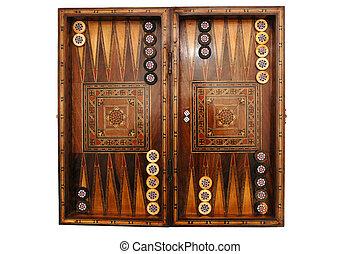 Backgammon - Wooden backgammon board game on white...