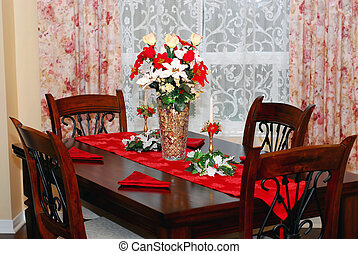 Dining room decorated for Christmas celebration