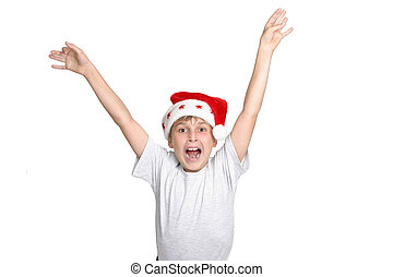 Hooray its Christmas - A boy leaps for joy at Christmas time...
