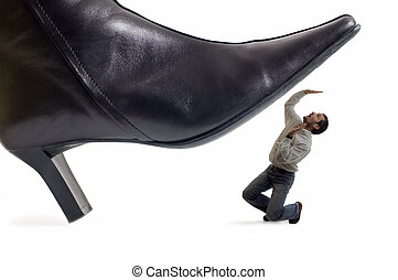 shoe - woman shoe stepping on business men concept on white