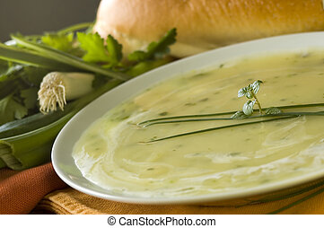 soup - leek soup decorated with fresh vegetables and bread