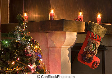 stocking - christmas stocking hanging over fireplace next to...