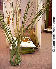 Home decoration - Twigs in vase with pillows for home...