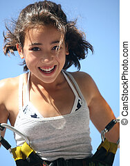 Girl having fun - Girl having a good time bungee jumping