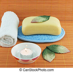 Spa products on an orange background