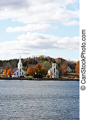 Churches overlooking the water, Nova Scotia, Canada