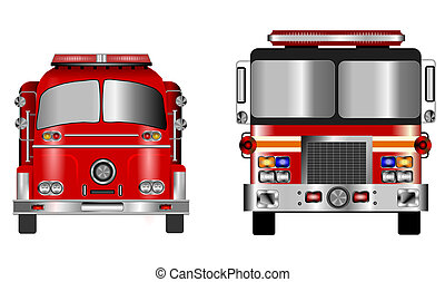 fire engines - Illustration of old and new fire engine front...