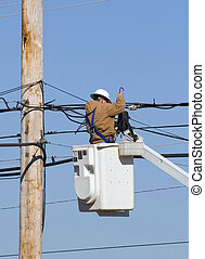 Technician working 2 - Cable technician working on...