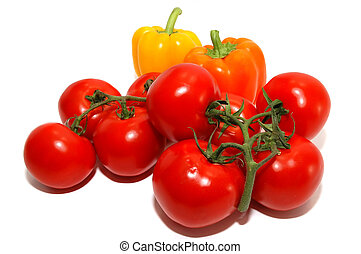 Vegetables - Fresh bright red vine tomatoes, yellow and...