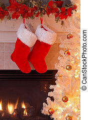 Christmas Stockings by the Fireplace - Two red fur stockings...