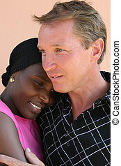 interracial couple - portrait interracial couple...