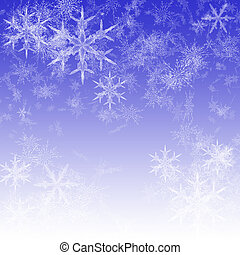 Let It Snow - Snowflakes, snow and sky in blue and white