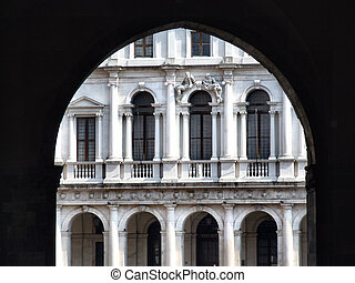 Italian architecture in Bergamo - Old, decorated building on...