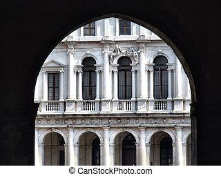 Italian architecture in Bergamo - Old, decorated building on...