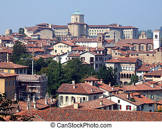Old town panorama in Italy - Roofs of the buildings in the...