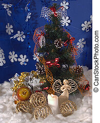 Christmas 2 - Christmas - New Year composition with wicker...