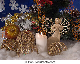 Christmas 4 - Christmas - New Year composition with wicker...