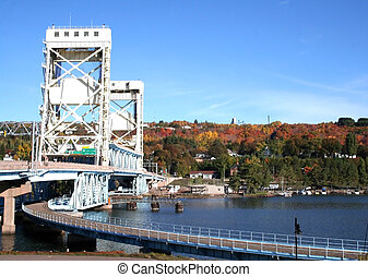 Vertical lift bridge - Houghton Vertical lift bridge in...