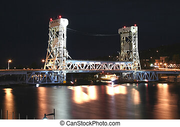 Vertical lift bridge - Houghton Vertical lift bridge in the...