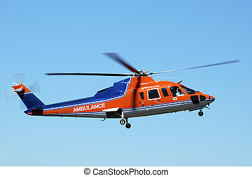 Air Ambulance - Air ambulance helicopter returning from a...