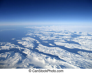 Greenland - Aerial shot of the west coast of Greenland