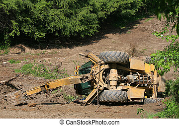 Backhoe Accident - An improperly operated backhoe rolled on...