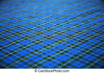 blue checkered fabric background. shallow DOF. - checkered...