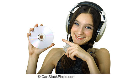 Girl with headphones - teenager smiling girl with headphones...