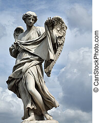 Angel statue in Rome, Italy - Angellic figure. Classic...