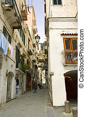 Typical street in Amalfi , Italy - Typical small European...