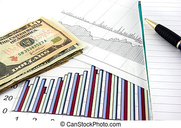 Business Charts with US Money - Business chart and graphs...