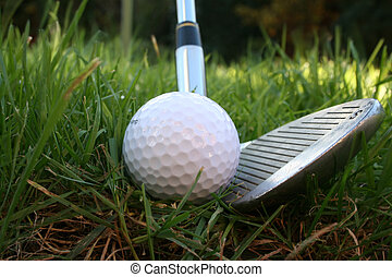 Iron out of the rough 3 - Iron about to hit a golf ball from...