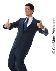 Smiling businessman - 2 thumbs up man in a blue suit