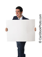 Crazy man with card - hyper man in blue suit holding a white...