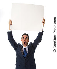 White board - man in blue suit holing a card above his head