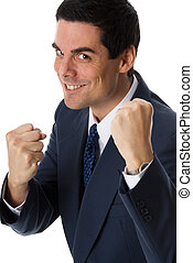 Fighting - man in blue suit wanting to pick a fight