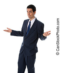 Shrugging man - businessman in a blue suit on a white...