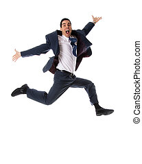 Happy man - jumping man in blue suit on white background