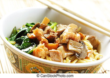 Bowl of noodle - A bowl of noodle with meat and vegetables