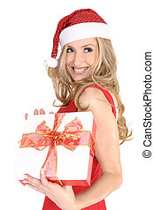 Smiling girl with a Christmas gift - Smiling woman wearing a...