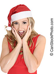 Christmas surprise - A delighted or surprised woman at...